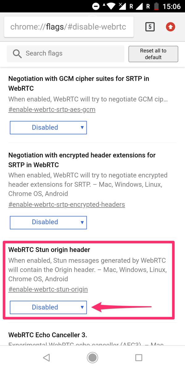 Webrtc漏れ google Chrome Android